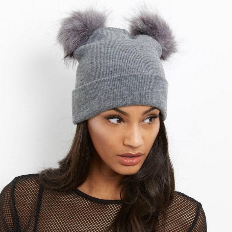 Fashion Winter Women Ladies Faux Fur Knitted Hat 2 Plush Balls Crochet Beanie Warm Adults Pom Poms Cap LB