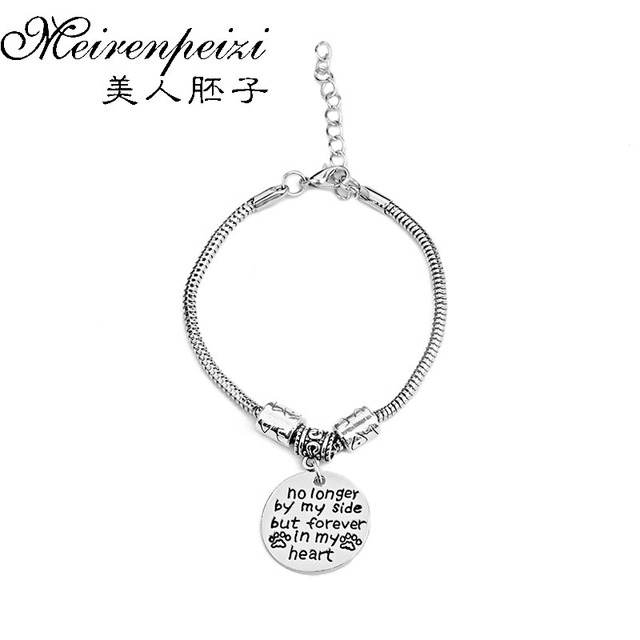 Pet Memorial Bracelet Gift No Longer By My Side But Forever In Heart Loss