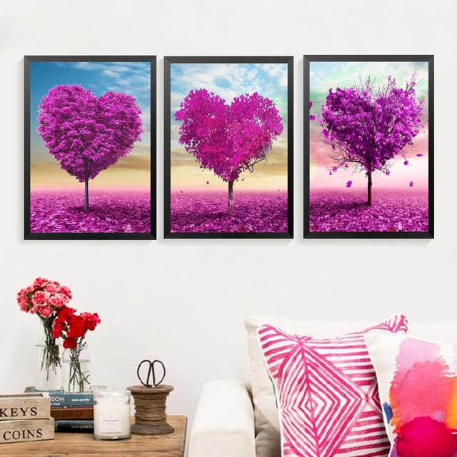 Scenery Trees Pictures Wall Decor Painting Purple Heart Trees ...