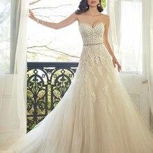 Возлюбленный Светильник цвета шампанского Кружева Аппликация Свадебное платье с цветным бисером створки свадебные платья Robe De Mariage