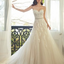 Sweetheart Light Champagne Lace Applique Wedding Dress With