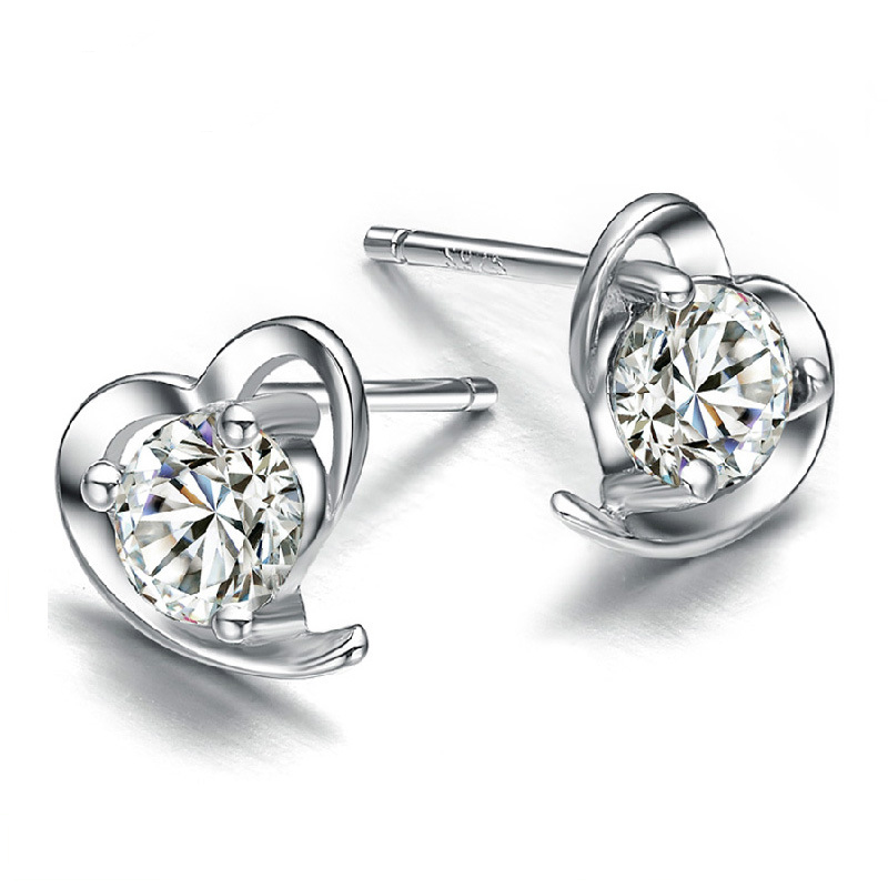 2015 New Arrivals 925 Sterling Silver Zircon Filled Heart Shaped Stud Earrings for Women Lovely Studs for lady brincos
