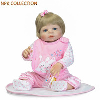 NPKCOLLECTION Silicone Reborn Dolls Baby Alive Girl Doll Toy for Children Gifts,21 Inch Real Dolls Newborn Baby Toys Brinquedos