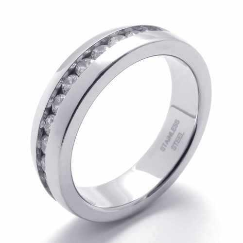 パンクジュエリーステンレス鋼リングシルバースリッピーサークルでチャンネル設定ジルコン男性リング結婚婚約指輪20963