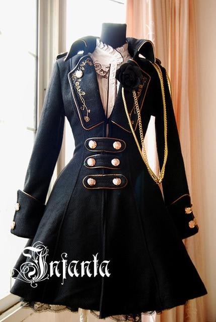 Infanta hiver Elegy Rose emblème de broderie femmes revers manches longues col à revers manteau d'hiver avec boutons en métal et chaînes