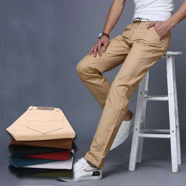 Мужская хлопок брюки мужчины 2016 новые мужские длинные брюки сплошной цвет брюки мужчины повседневный костюм брюки размер 28-38 мужская slim fit pantalones