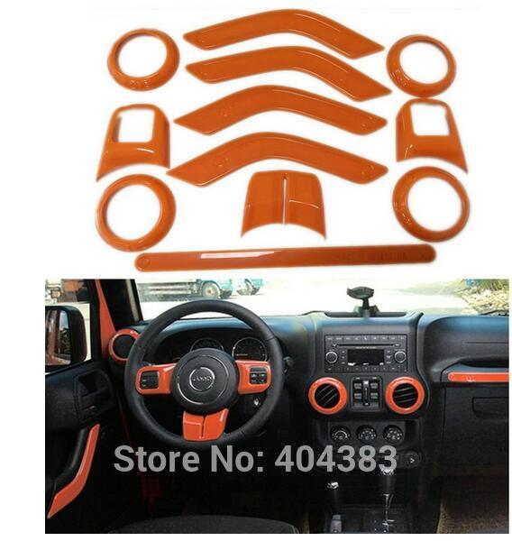 Steering Wheel Trim Air Condition Vent Interior Accessories Door Handle Cover Kits ABS Chrome For Jeep Wrangler JK interior accessories steering wheel wiper turn signals pull rod operating lever cover sticker for jeep patriot compass wrangler