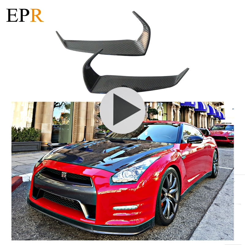 Car Accessories R35 GTR Eyebrow Carbon Fiber Car Styling Body Kit For Nissan R35 GTR Eyelid 2009-2011 Eyelid CF Light Cover car styling carbon fiber side fender covers trim for nissan gtr base coupe 2008 2016