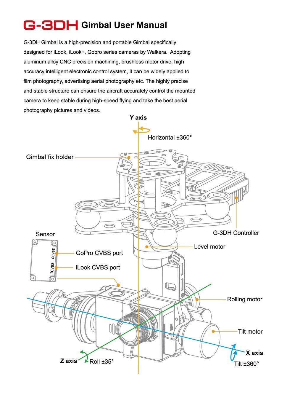 Livraison gratuite Walkera G-3DH sans brosse rotatif caméra Support de cardan iLook + Gopro3/3 + Gopro4 caméra 360 degrés contrôle d'inclinaison FPV - 4