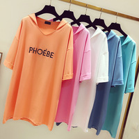 2019 Rushed Unicorn Tumblr Korean T Shirt Women Cotton Casual Knitted Sleeve Long Cloth Hooded Batwing Letter Embroidery Loose