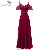 SISHION Elegant Chiffon Long Dress Double V Neck Navy Blue Pink Wine Red Pretty Women Sexy Autumn Club Maxi Dresses VD0863