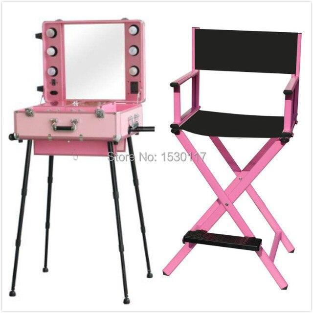 2 pcs makeup set Makeup Artist Station Rolling Makeup Case with Lights Mirror Legs with makeup