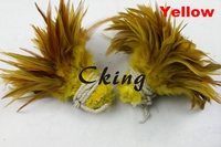 New arrival! 1kgs/lot rooster hackle feather 4 6''/10 15cm Dyed Badger Saddle Rooster feather Yellow Color for Party Decoration