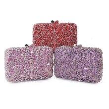 Новое прибытие алмаз красный/розовый/фиолетовый цвет женский вечерний клатч Сумки оптом женские клатчи модные женские сумки