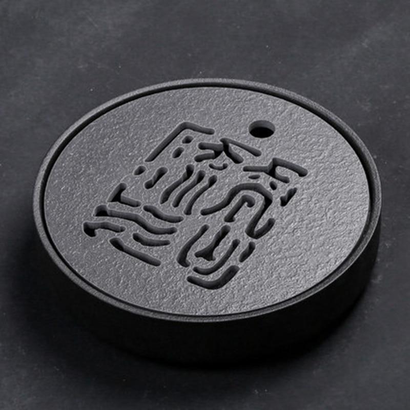 PINNY Japanese Style Black Stone Ceramic Tea Tray 25.5*5.5cm Kung Fu Tea Board Eco-Friendly Teapot Craft Tray Tea Ceremony Table title=