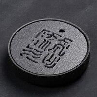 PINNY Japanese Style Black Stone Ceramic Tea Tray 25.5*5.5cm Kung Fu Tea Board Eco Friendly Teapot Craft Tray Tea Ceremony Table
