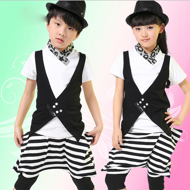d6eb5371b73c Boy Girl Hip Hop Dance Wear Outfits Mordern Jazz Hip-Hop 2pcs Clothing Set  Kids Children's Hip Hop Stage wear Dance Costumes