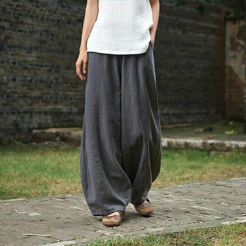 Linen pants women linen clothes for women elastic waist comfortably solid wide leg white linen pants