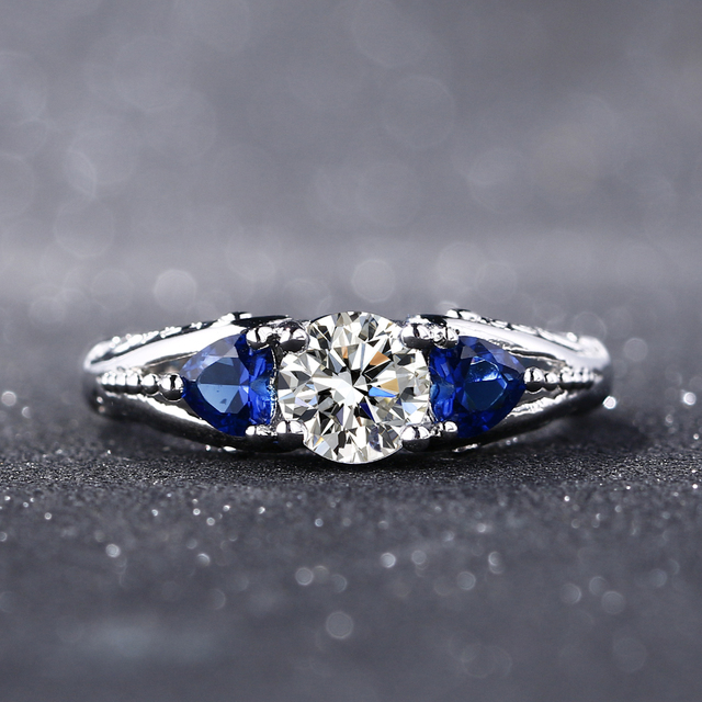 Bague Ringen Classic 100% 925 Sterling Silver Sapphire Gemstone Wedding Engagement Rings for Women Fine Jewelry Gift Wholesale 2
