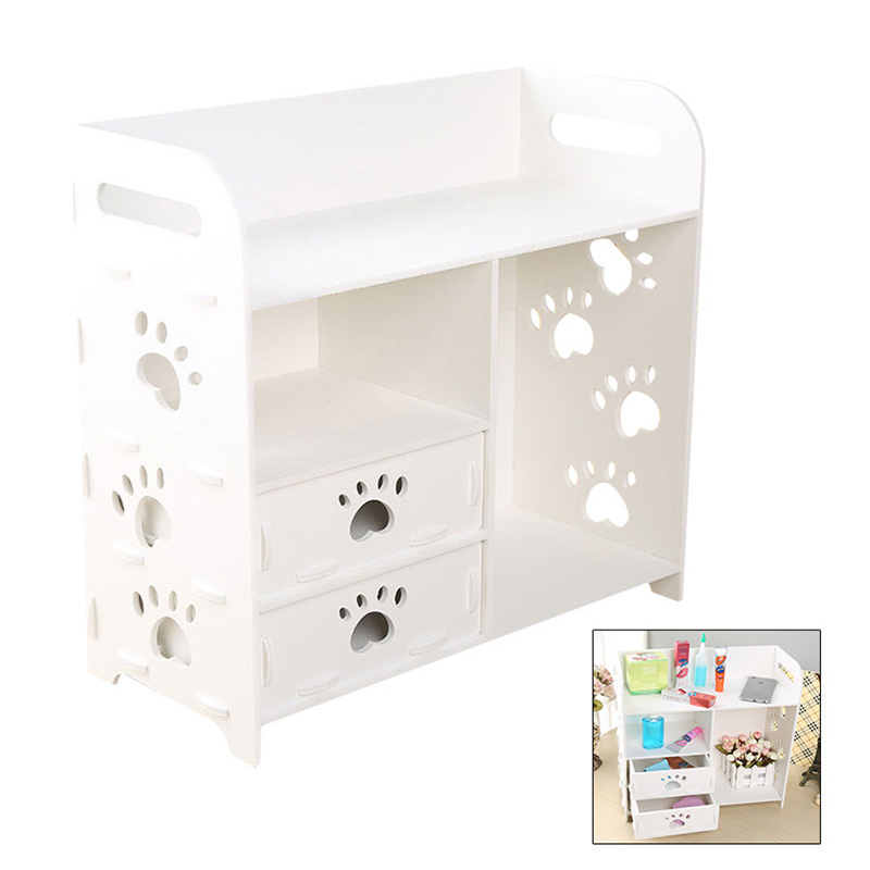 Living Room  Decor Sundries Storage Racks White Wood Bathroom Waterproof Dressing Table Cosmetic Box Jewellery Storage Drawer meja hias ruang tamu