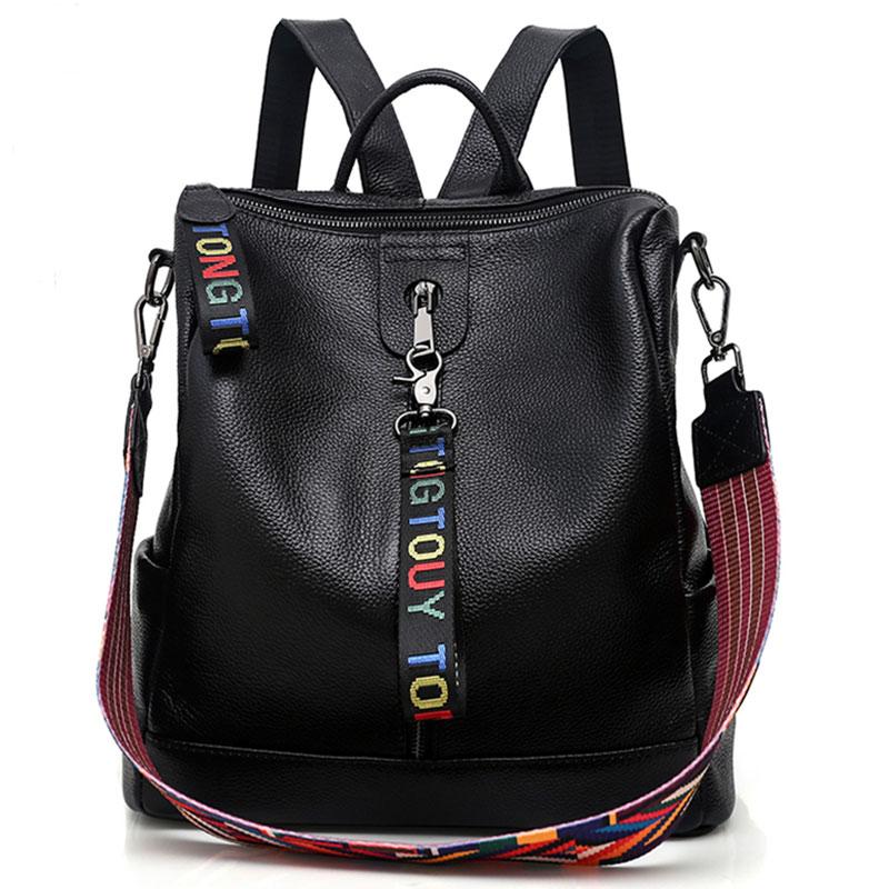 ce4e69955862 Мода 2018 г. для женщин пояса из натуральной кожи рюкзак высокое качество  молодежи рюкзаки для