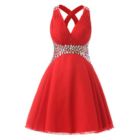 Red 2017 Chiffon Short Homecoming Dresses With Beading Crystal Short Mini Backless 8th Grade Prom Dresses