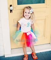 Rainbow Mini Fluffy Tulle Kids Children Girl Tutu Skirt Baby Girl Short Costume Cloth Ball Gown