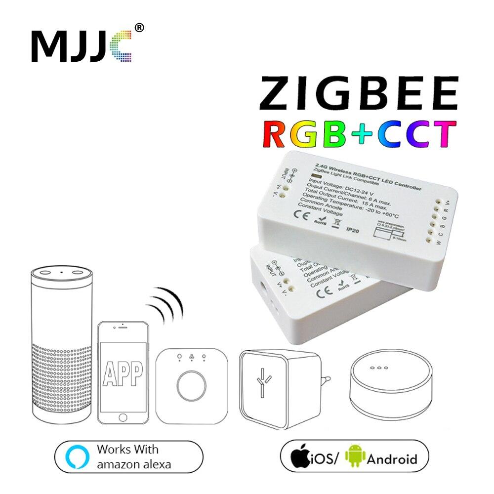 Zigbee RGBW RGB LED Contrôleur Pour LED Bande DC12V/24 v Zigbee Zll Lien Lumière De Bande À Puce RVB APP contrôle Compatible LED ECHO