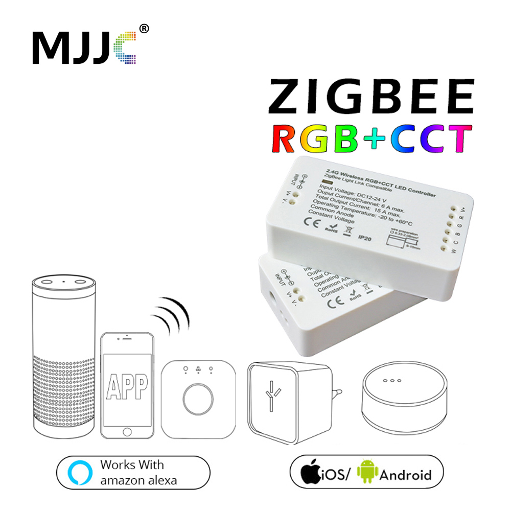 Zigbee RGBW RGB LED Controller For LED Strip DC12V/24V Zigbee Zll Link Smart Strip Light RGB APP Control Compatible LED ECHO home smart rgb rgbw zigbee led strip controller zigbee app control zll light hue compatible with echo plus osram lightify wifi