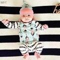 KIKIKIDS Determinado Del Bebé Azul Bebé Recién Nacido Conjuntos BEBES BOBO CHOSES Infantil Feather Impreso Trajes 3 Unids Manga Completa Niñas ropa