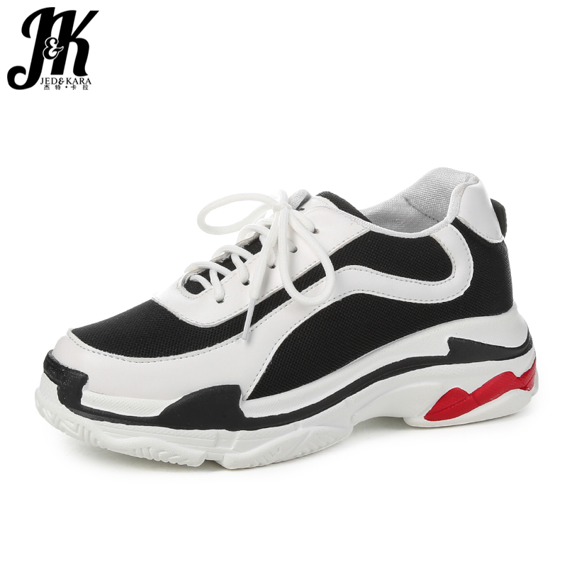 JK Platform Women' S Vulcanize Shoes Lace Up Round Toe Mesh Footwear Lady Dorky Dad Shoes Ladies Sneakers Shoes Woman Autumn