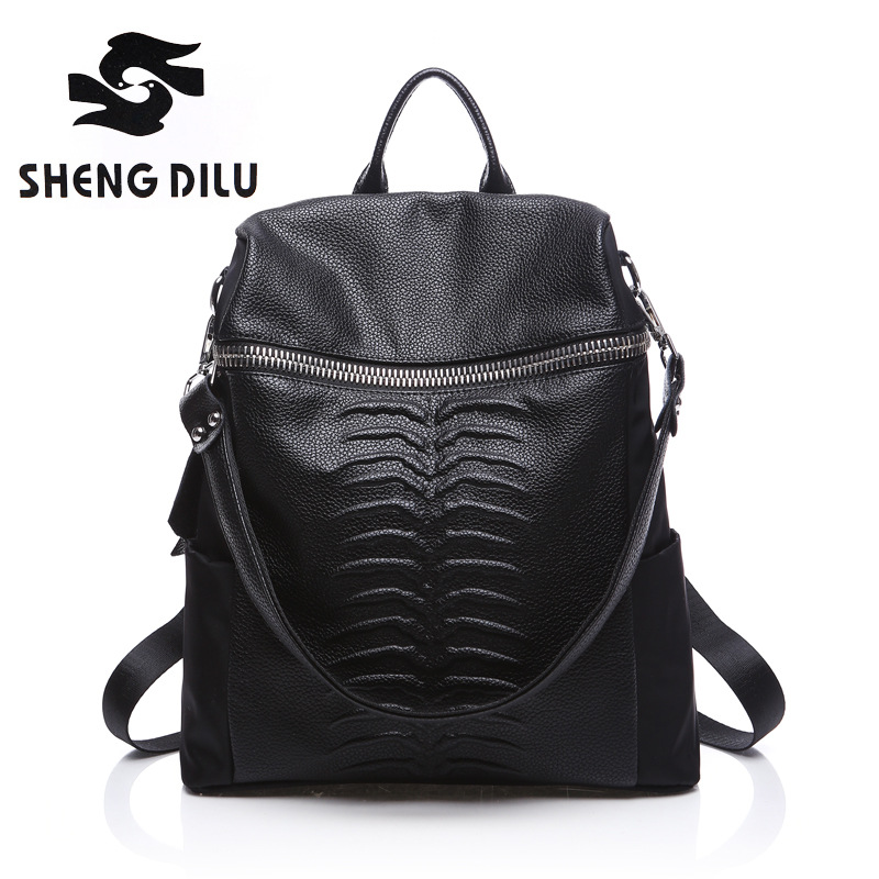New Designer Women Backpack For Teens Girls Preppy Style School Bag Genuine Leather Backpack Ladies High Quality Black Rucksack new 2017 women printing backpack preppy style fashion school bag for teenager color casual nylon bag hot high quality ladies bag