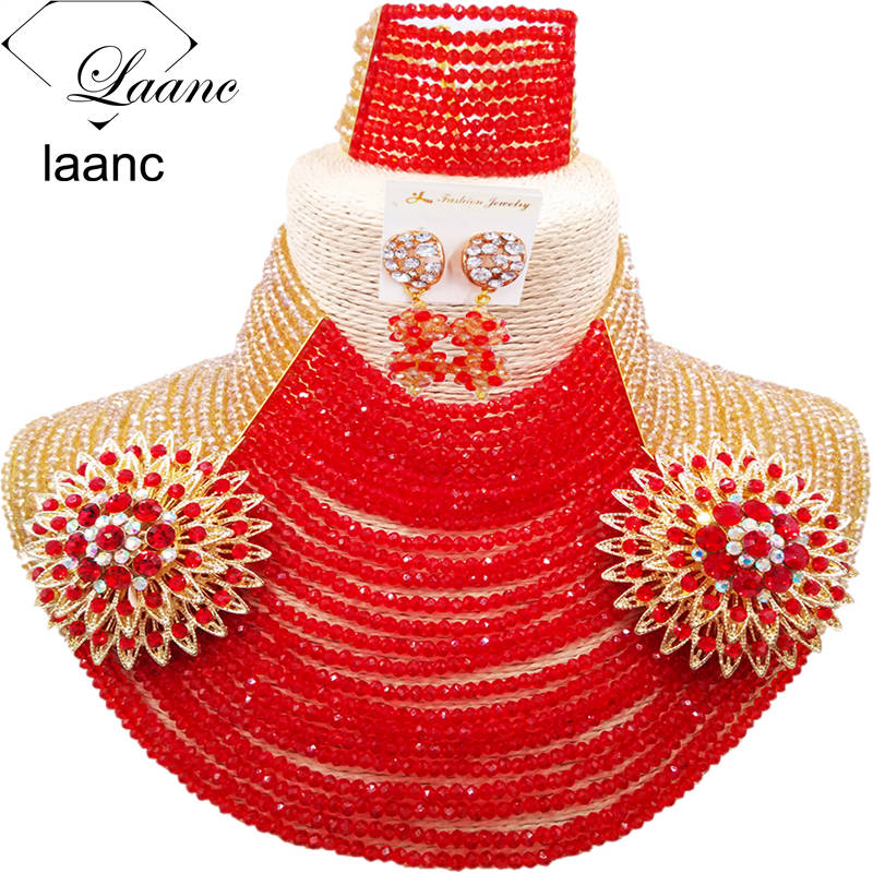 Laanc 25 Rows 4mm Beads Gold AB and Red African Beads Jewelry Set Black Women Bridal Wedding Accessories Nigerian Necklace AL645Laanc 25 Rows 4mm Beads Gold AB and Red African Beads Jewelry Set Black Women Bridal Wedding Accessories Nigerian Necklace AL645