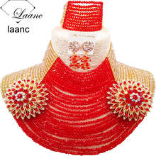 Laanc 25 Rows 4mm Beads Gold AB and Red African Beads Jewelry Set Black Women Bridal Wedding Accessories Nigerian Necklace AL645 2018 nigerian wedding african beads jewelry set brand woman fashion dubai gold color jewelry set nigerian wedding bridal bijoux