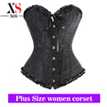 2015 women lace bustier steel boned women underwear plus size denim corset gothic red and black clothing steampunk costumes