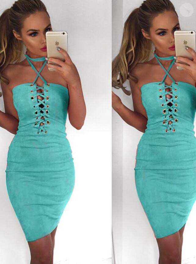 ce97d425c94b Women Sexy Bodycon Off Shoulder Dress 2018 Faux Fur Lace Up Halter Backless  Bandage Dress Spring Autumn Short Club Party Dresses-in Dresses from  Women s ...