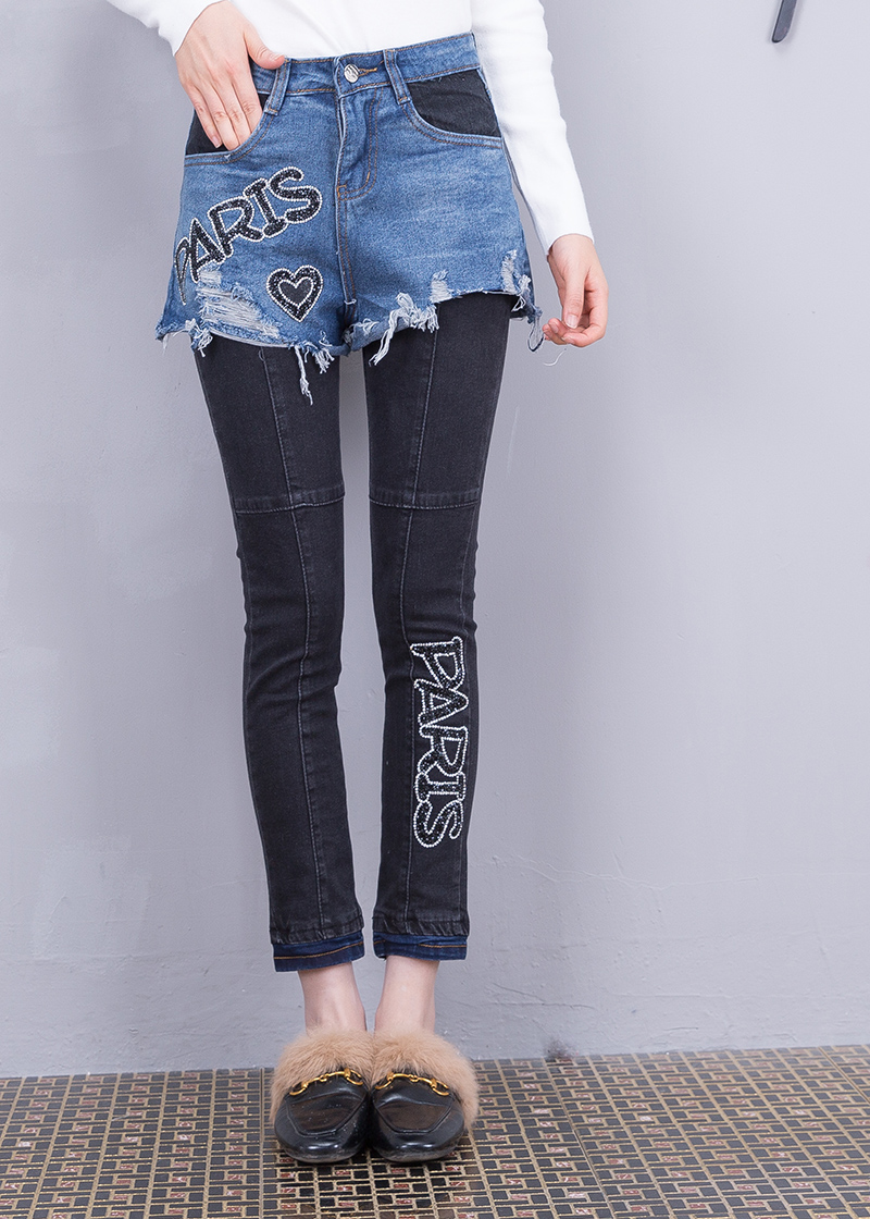 2 Di Fori E Diamanti Falso Jeans Stazione Strada Dei Nuovo 2019 Lettere Modo Europeo Autunno Inverno Pezzi Pantaloni Jeans qnO4Aw