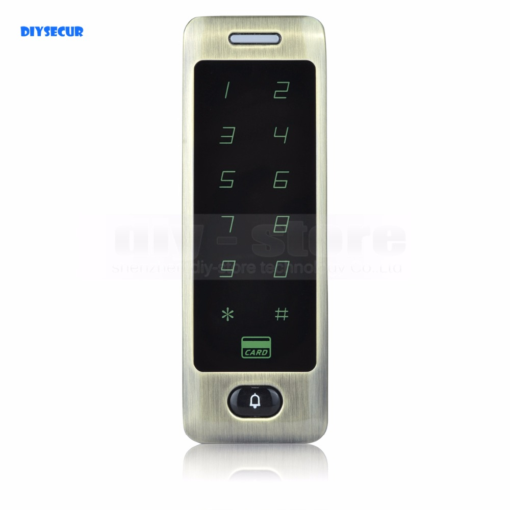 DIYSECUR 125KHz Rfid Card Reader Door Access Controller System Password Keypad + Door Bell Button rfid card reader door access controller