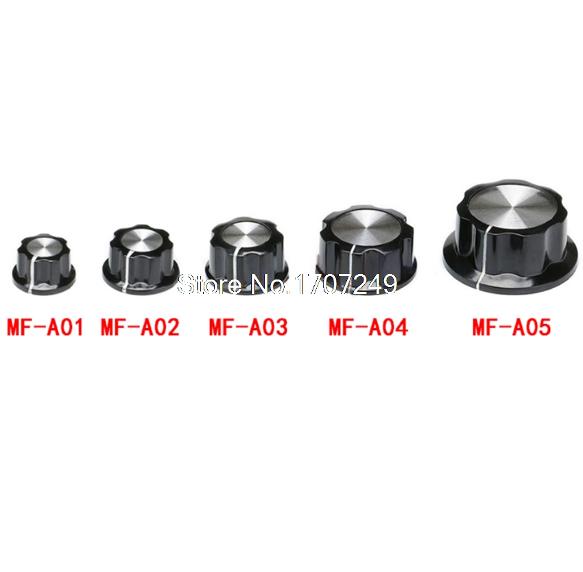 10Pcs MF-A01/A02/A03/A04/A05 Potentiometer Control Knobs Top Black Silver Tone Potentiometers Knob /Hat 6mm Inner Hole