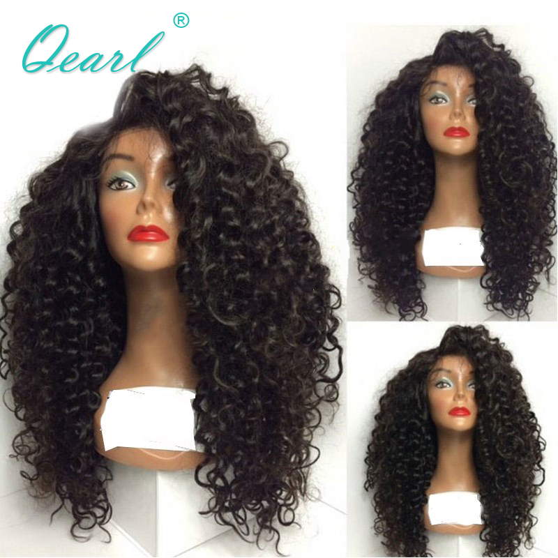 Qearl Hair 130% Density Curly Lace Front Human Hair Wigs For Black Women Pre Plucked Natural Hairline Brazilian Remy Hair Wigs