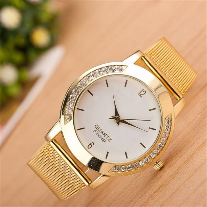 Exquisite Analog Quartz Wrist Watch Fashion Women Crystal Golden Rhinestone Stainless Steel Mesh Belt Watch Gift Clock Relogio#S