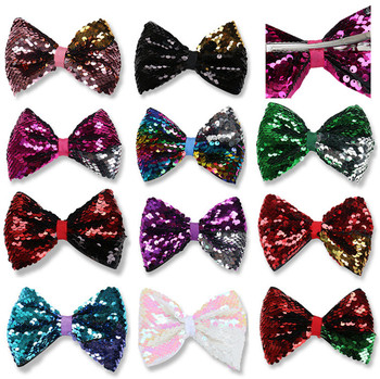 """22pcs/lot 5""""Mermaid Reversible JoJo Sequin Bow Hair Clip For Kids GirBow Hairpins Girls Hair Accessory You Pick Colors"""