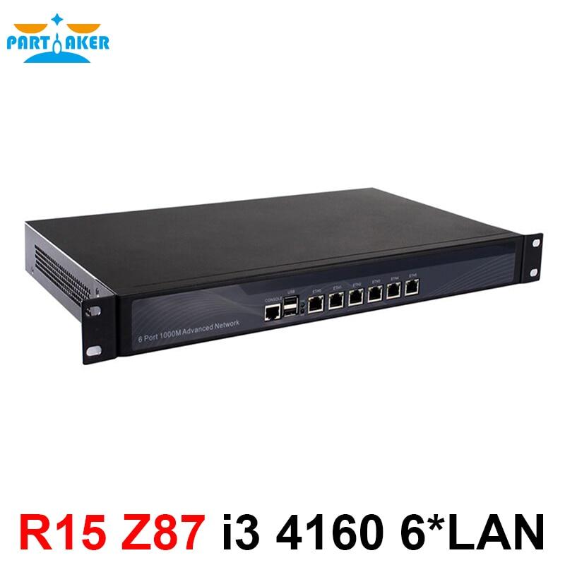1u 6 локальной сети межсетевого экрана устройства с 6 портов Gigabit LAN Intel Core i3 4150 3.5 ГГц Mikrotik pfsense ROS wayos 2 г Оперативная память 8 г SSD