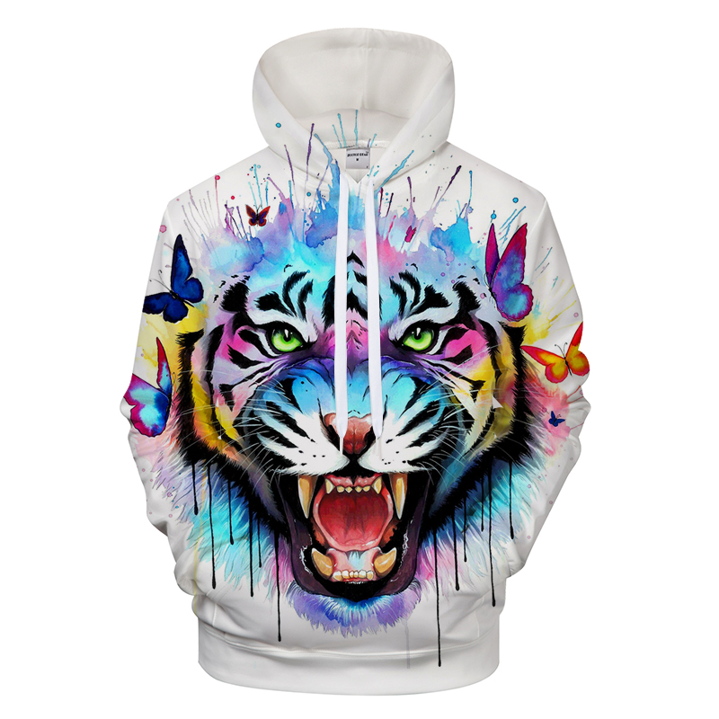 Colour Tiger 3D Men Printed Hoodies Autumn Men Women Off White Tiger Sweatshirts xxxtentcaion Sport Pullover Asian Size S-6XL