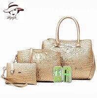 Fashion Classic 4pc/set High Quality PU Leather Women Crocodile Pattern Messenger Bags Purse Handbag Butterfly Tote Shoulder Bag