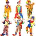 Дети Хэллоуин Костюмы Мальчики Цирк Клоун Одежды Дети Косплей Одежда Костюм Ребенка Маскарад Производительность Одежда Клоун Парик