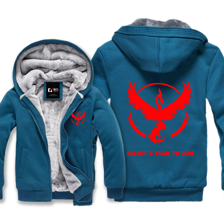 6 kinds pokemon go Blue Zipper Cotton Soft Warm Hoodies Anime Cartoon winter jacket sweatshirt fleece tracksuit brand clothing