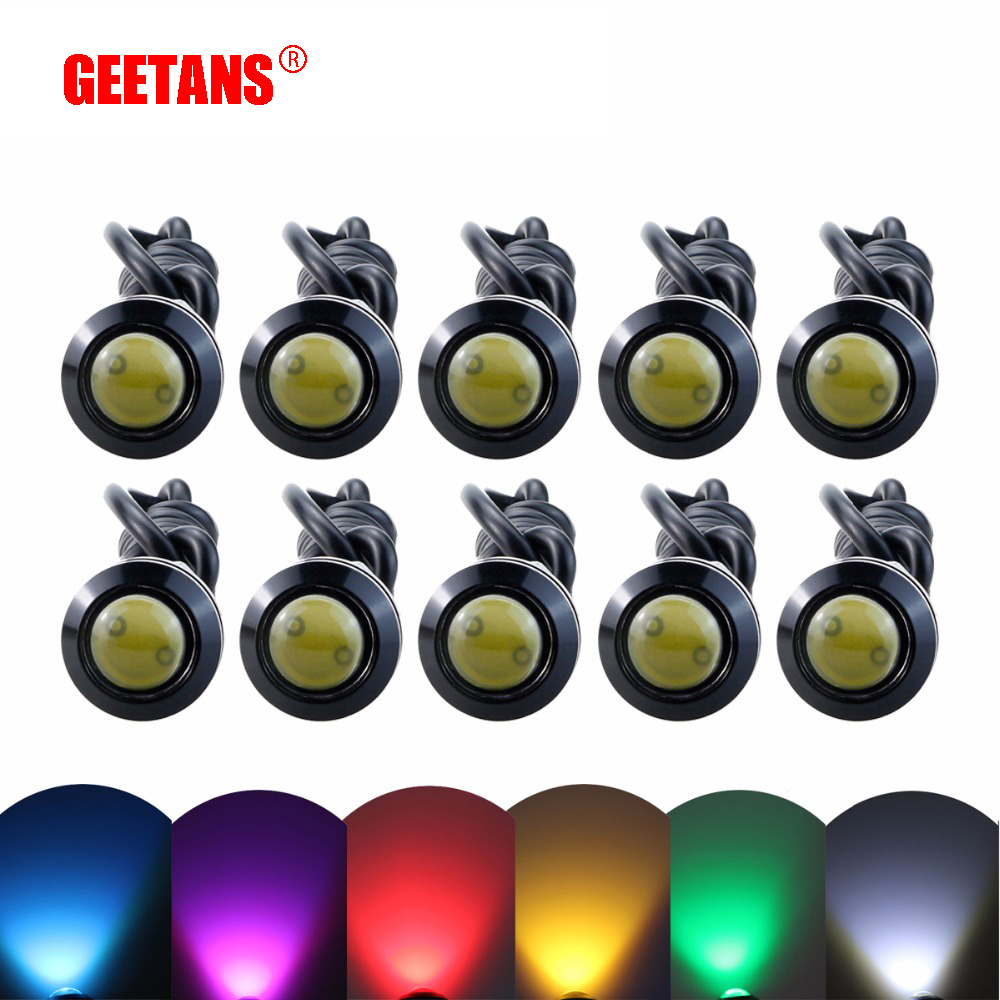 GEETANS DRL 10pcs LED Eagle Eye Light Luz antiniebla para automóvil Luces de circulación diurna 18MM 23MM Luz de estacionamiento de señal de respaldo inversa BE