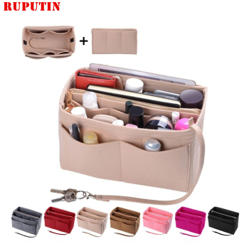 New Popular Women's Makeup Organizer Felt Cloth Insert Bag Multi-functional Travel Cosmetic Girl Storage Toiletry Liner Bags - discount item  30% OFF Special Purpose Bags