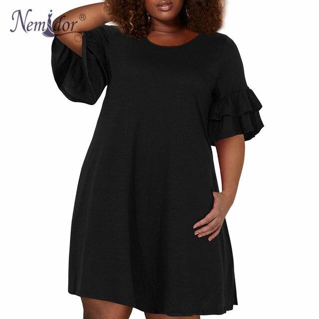 Nemidor vestido feminino vintage de babado, vestido plissado gola redonda 50s, vestido de festa elástico em linha a, tamanho grande 7xl 8xl 9xl com bolso